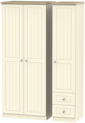 Vienna Cream Ash Triple Wardrobe with 2 Drawer