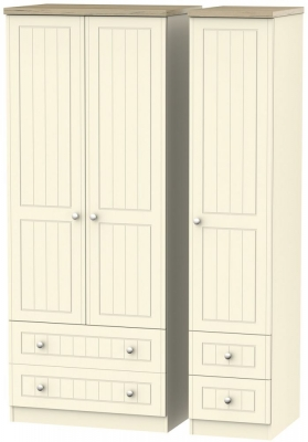 Vienna Cream Ash Triple Wardrobe with Drawer