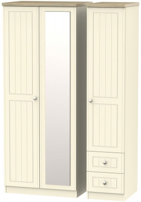 Vienna Cream Ash Triple Wardrobe with Mirror and 2 Drawer