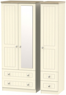 Vienna Cream Ash 3 Door 4 Drawer Combi Wardrobe