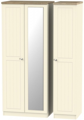 Vienna Cream Ash Triple Wardrobe with Mirror