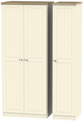Vienna Cream Ash Triple Wardrobe with Plain