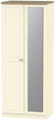 Vienna Cream Ash 2 Door Mirror Wardrobe