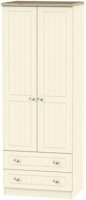 Vienna Cream Ash 2 Door 2 Drawer Tall Wardrobe