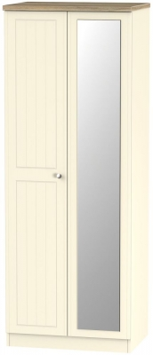 Vienna Cream Ash 2 Door Tall Mirror Wardrobe