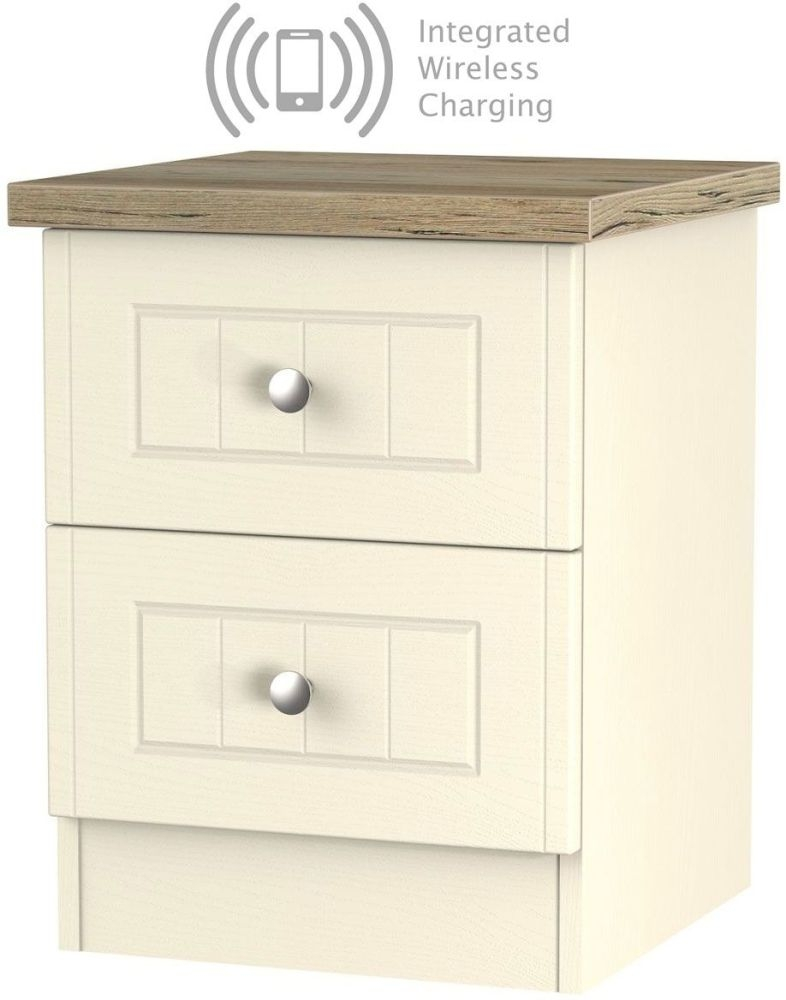 Vienna Cream Ash 2 Drawer Bedside Cabinet with Integrated Wireless Charging