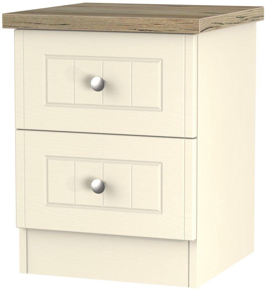 Vienna Cream Ash Bedside - 2 Drawer Locker