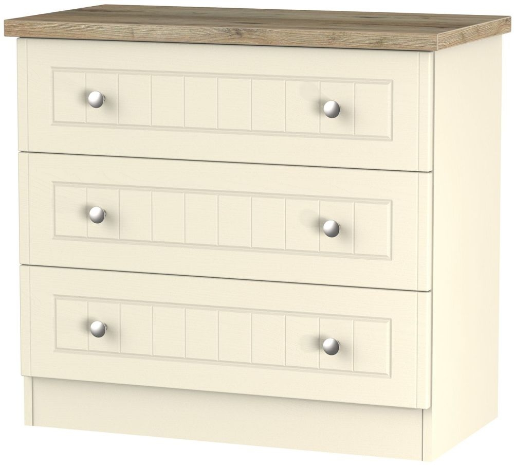 Vienna Cream Ash Chest of Drawer - 3 Drawer