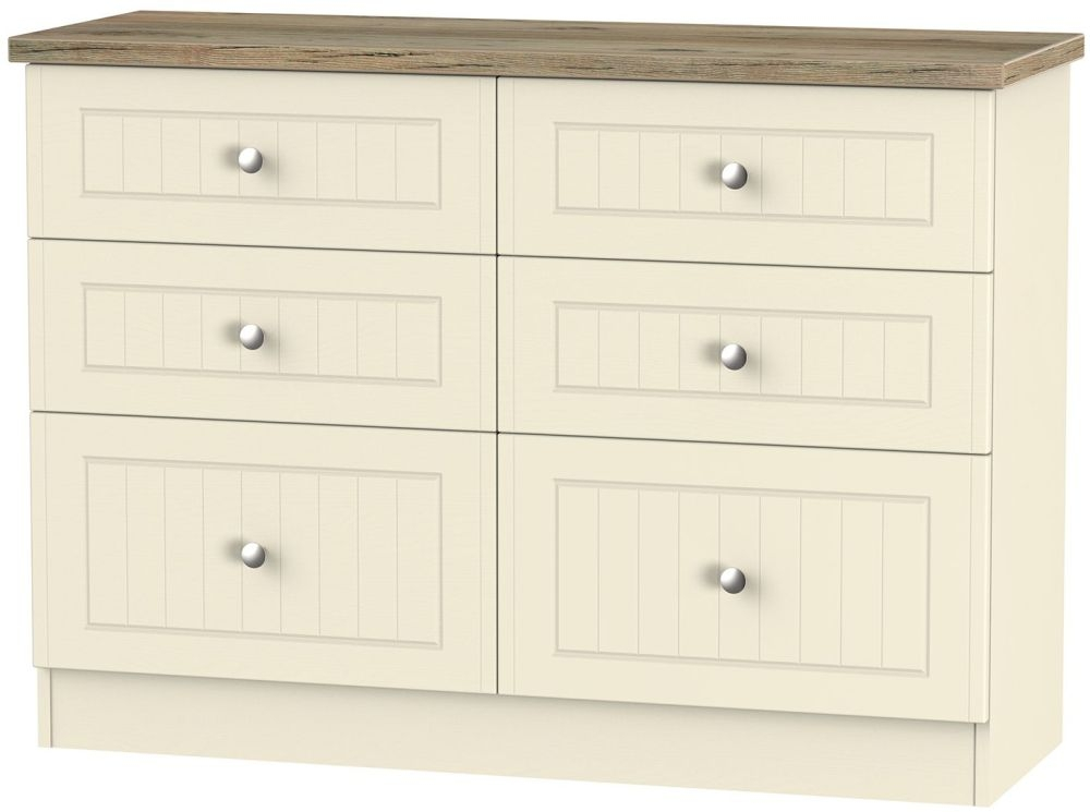 Vienna Cream Ash Chest of Drawer - 6 Drawer Midi