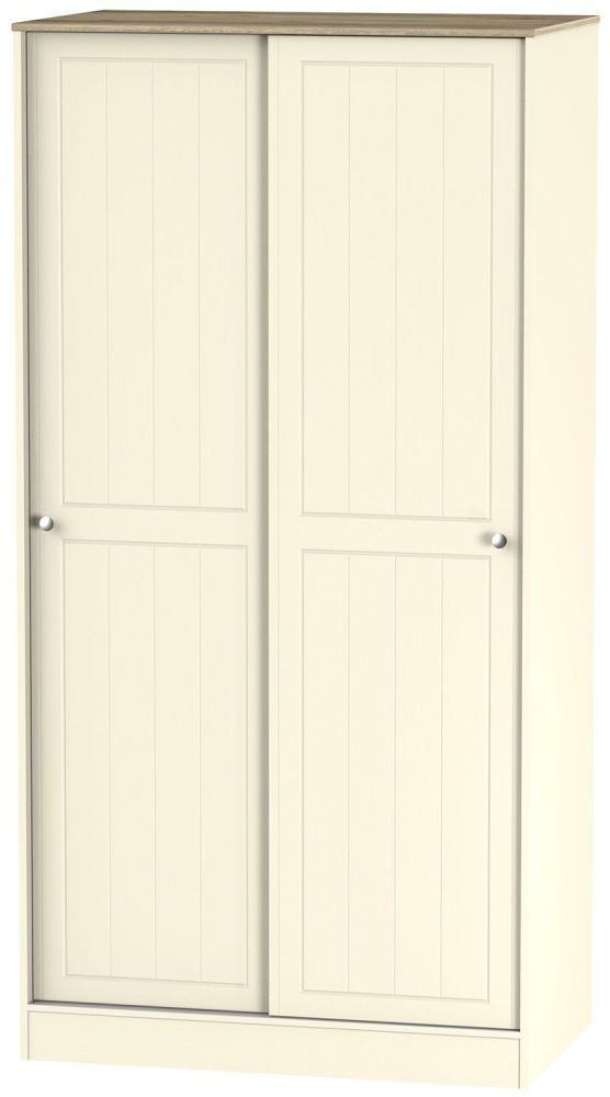 Vienna Cream Ash Sliding Wardrobe - Wide