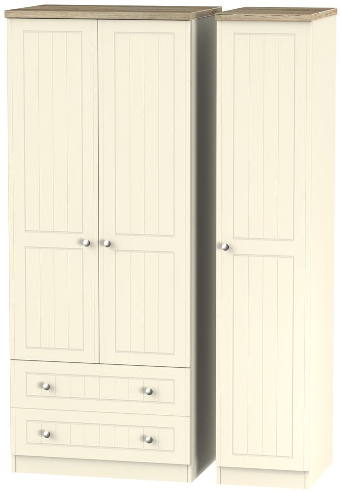 Vienna Cream Ash Triple Wardrobe - 2 Drawer