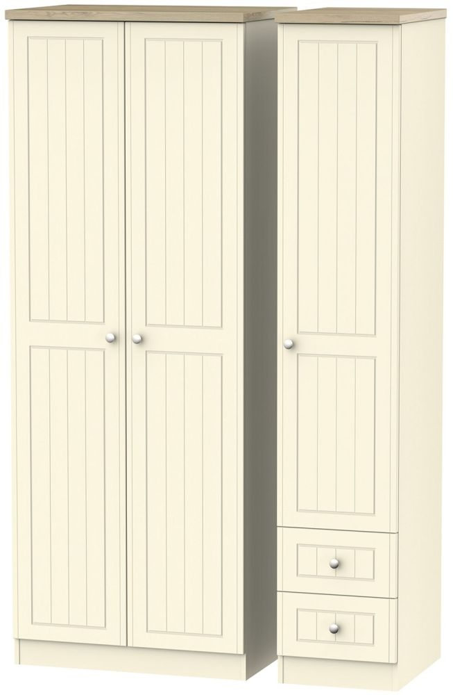 Vienna Cream Ash Triple Wardrobe - Tall Plain with 2 Drawer