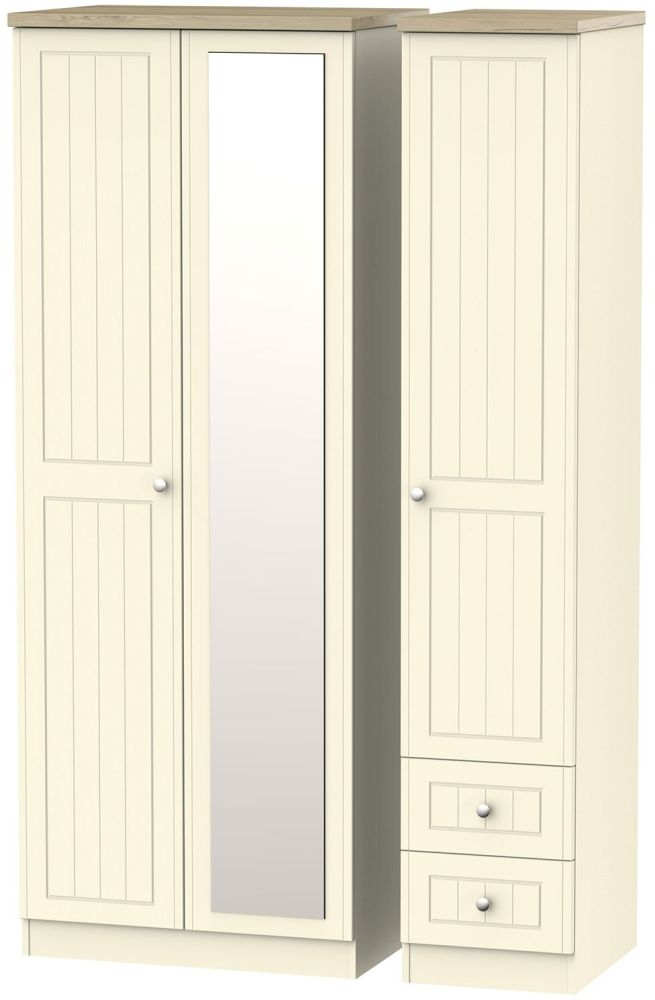 Vienna Cream Ash Triple Wardrobe - Tall with 2 Drawer and Mirror