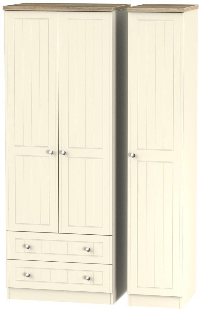 Vienna Cream Ash 3 Door 2 Right Drawer Tall Wardrobe
