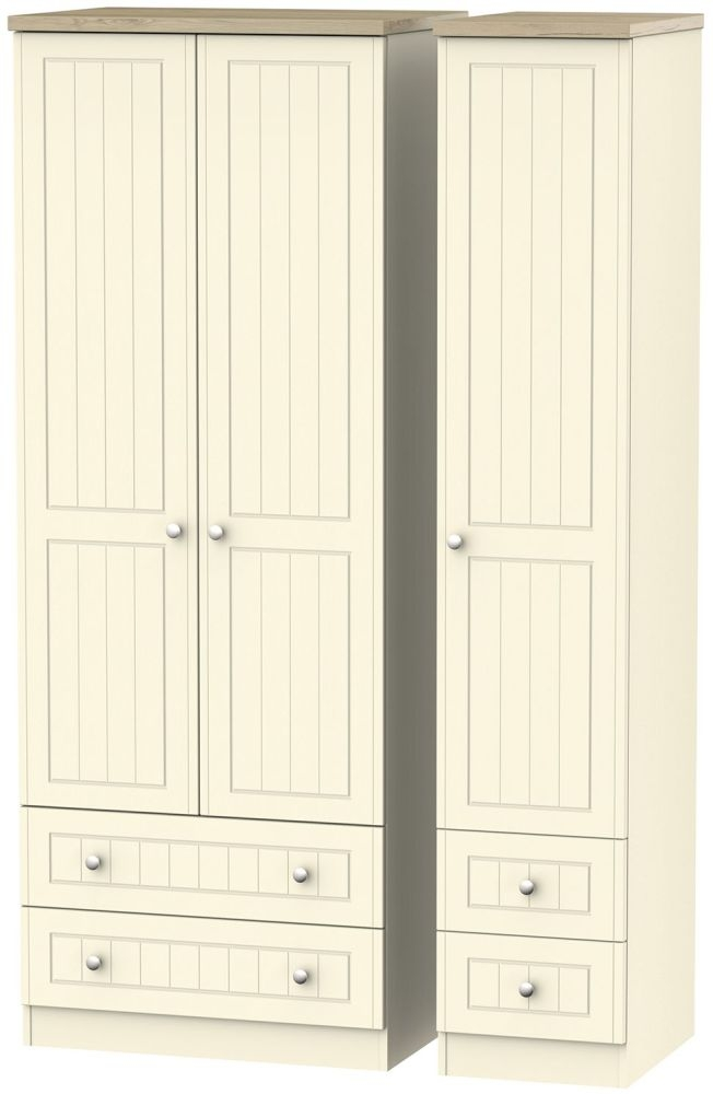 Vienna Cream Ash 3 Door 4 Drawer Tall Triple Wardrobe