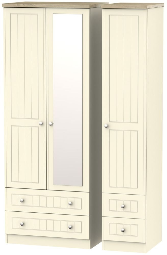 Vienna Cream Ash Triple Wardrobe - Tall with Mirror and Drawer