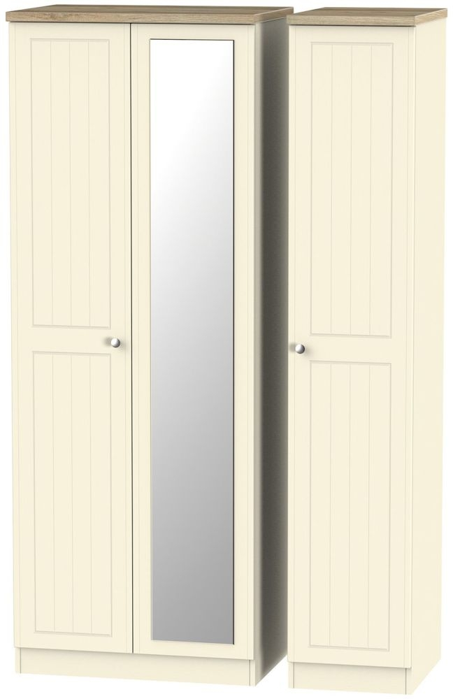 Vienna Cream Ash Triple Wardrobe - Tall with Mirror