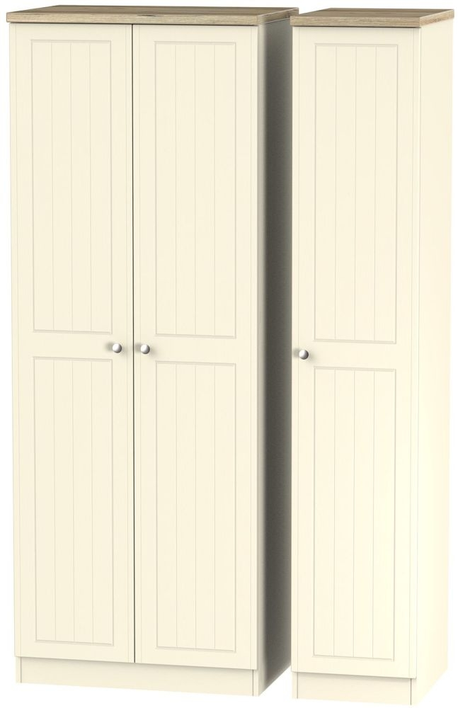 Vienna Cream Ash 3 Door Tall Wardrobe