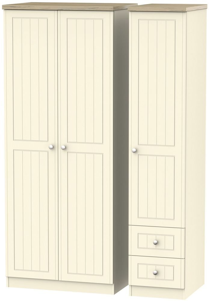 Vienna Cream Ash 3 Door 2 Right Drawer Wardrobe