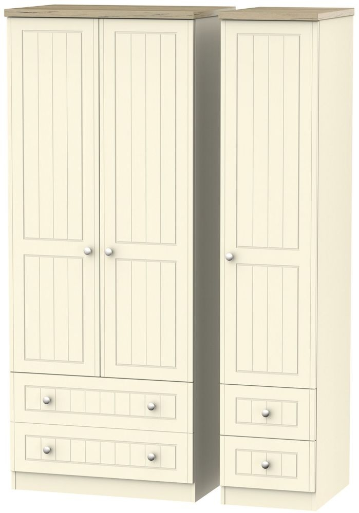 Vienna Cream Ash 3 Door 4 Drawer Wardrobe