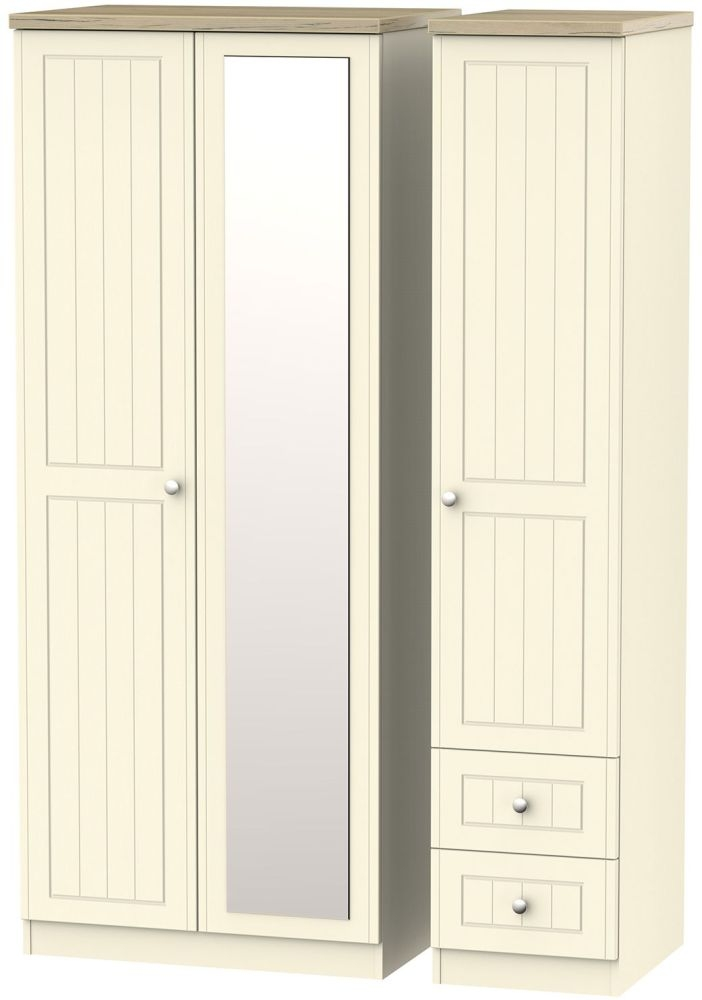 Vienna Cream Ash 3 Door 2 Drawer Mirror Triple Wardrobe