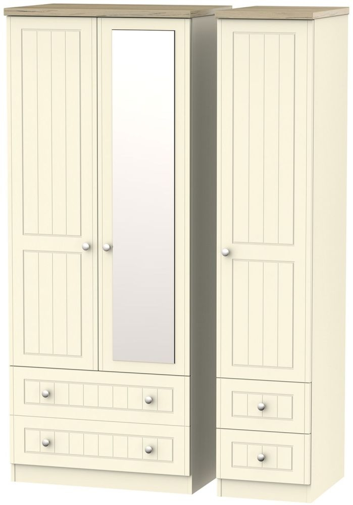 Vienna Cream Ash Triple Wardrobe with Mirror and Drawer