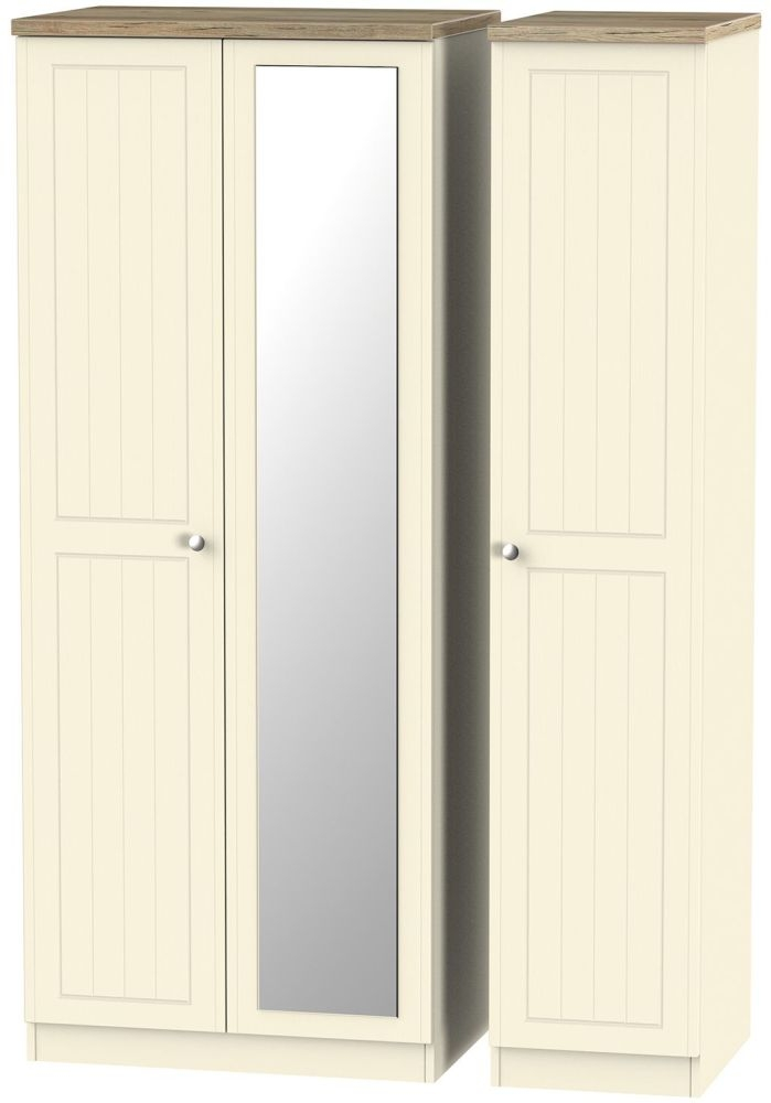 Vienna Cream Ash 3 Door Mirror Wardrobe