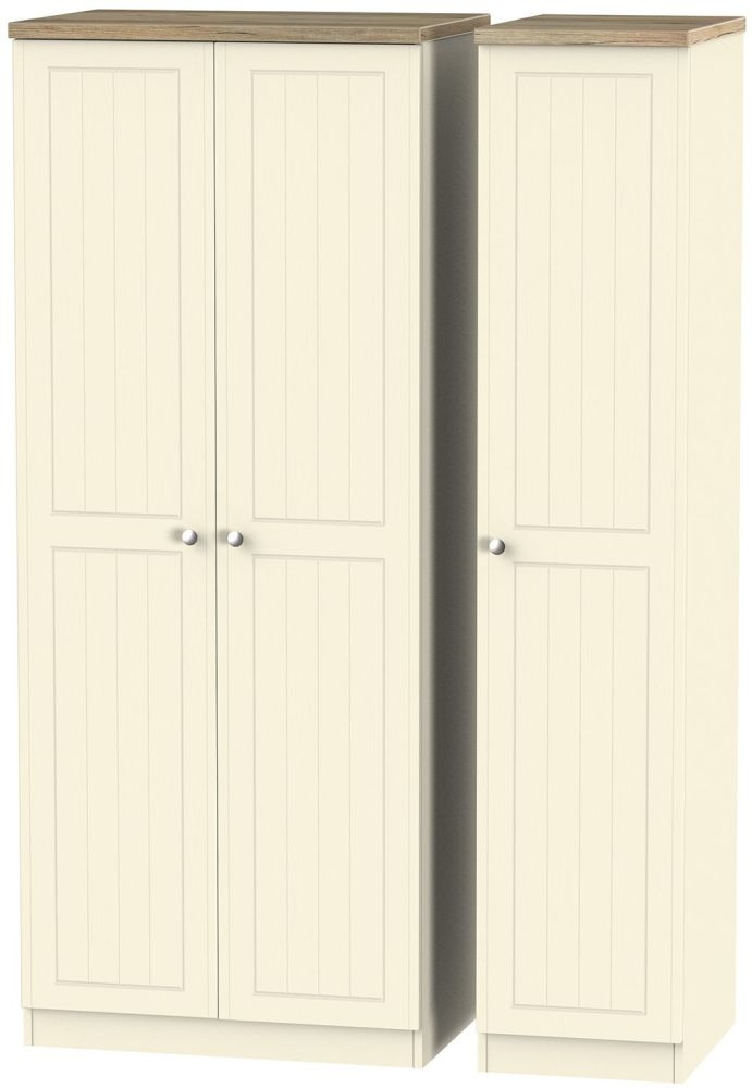 Vienna Cream Ash 3 Door Wardrobe