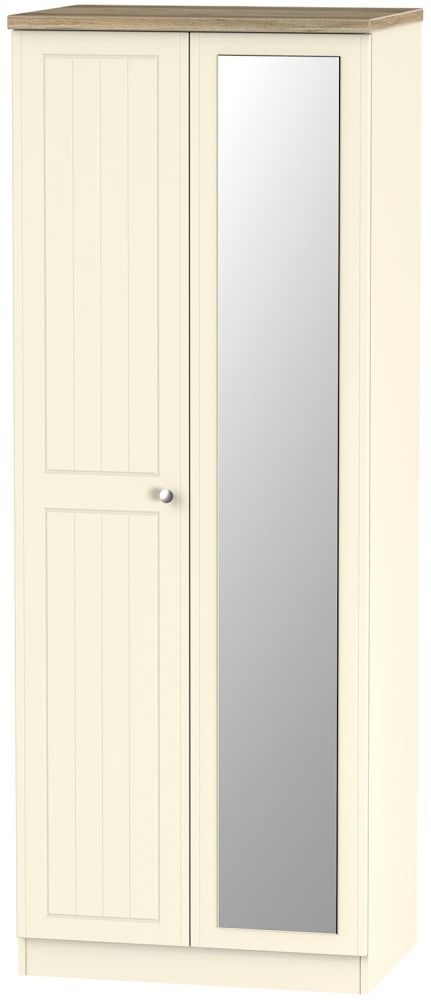 Vienna Cream Ash 2 Door Tall Mirror Double Wardrobe