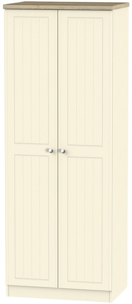 Vienna Cream Ash Wardrobe - Tall 2ft 6in with Plain