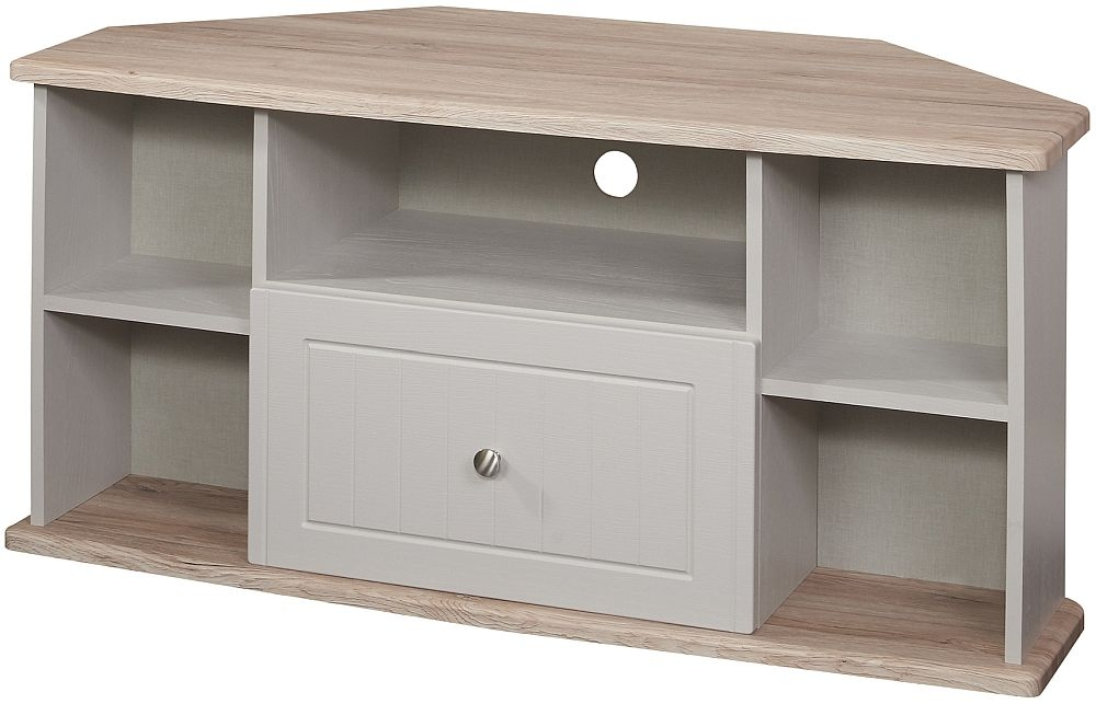 Vienna 1 Drawer Corner TV Unit - Kaschmir Ash and Bordeaux Oak