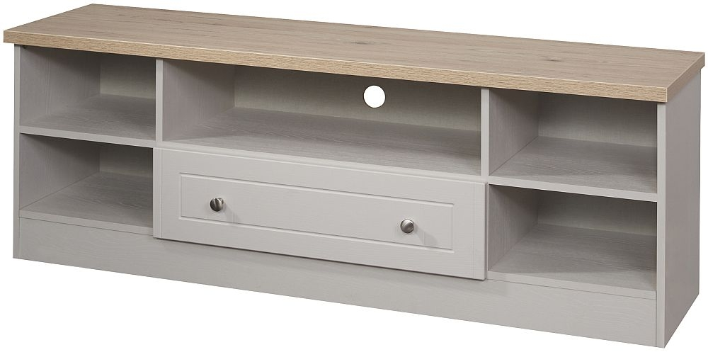 Vienna 1 Drawer Wide Open TV Unit - Kaschmir Ash and Bordeaux Oak