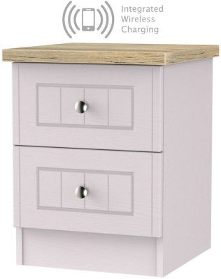 Vienna Kaschmir Ash 2 Drawer Bedside Cabinet with Integrated Wireless Charging