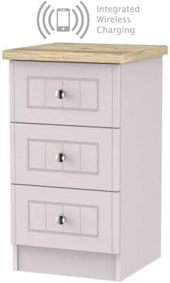 Vienna Kaschmir Ash 3 Drawer Bedside Cabinet with Integrated Wireless Charging