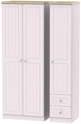 Vienna Kaschmir Ash Triple Wardrobe - Tall Plain with 2 Drawer