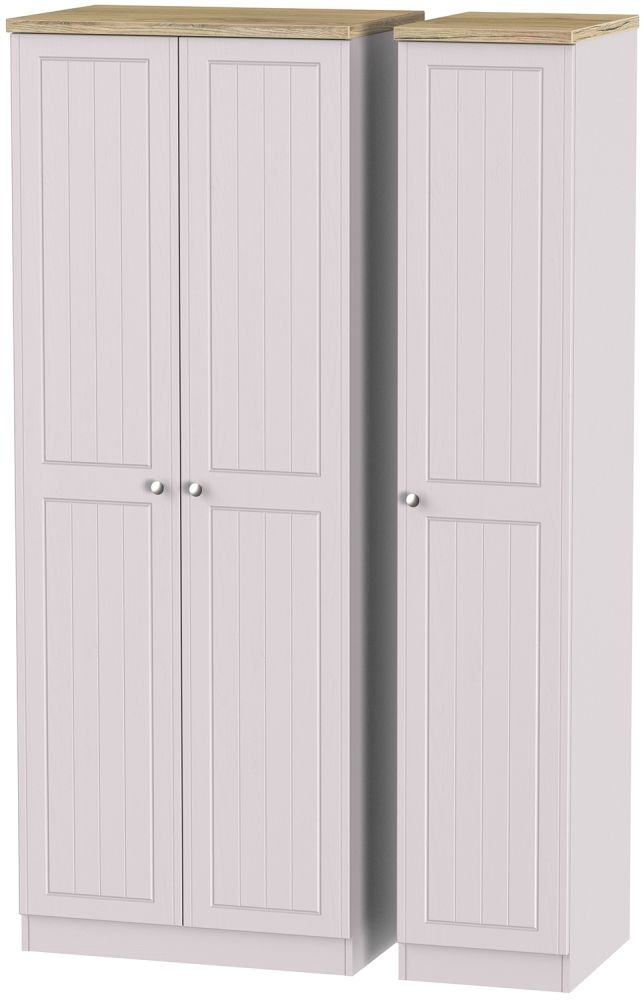 Vienna Kaschmir Ash Triple Wardrobe - Tall Plain