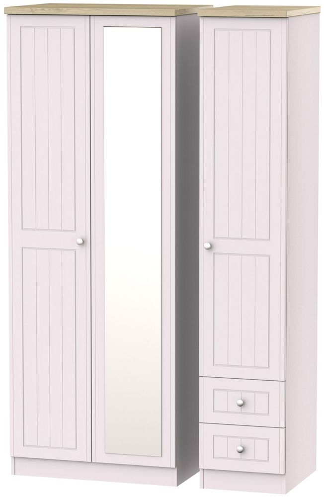 Vienna Kaschmir Ash Triple Wardrobe - Tall with 2 Drawer and Mirror