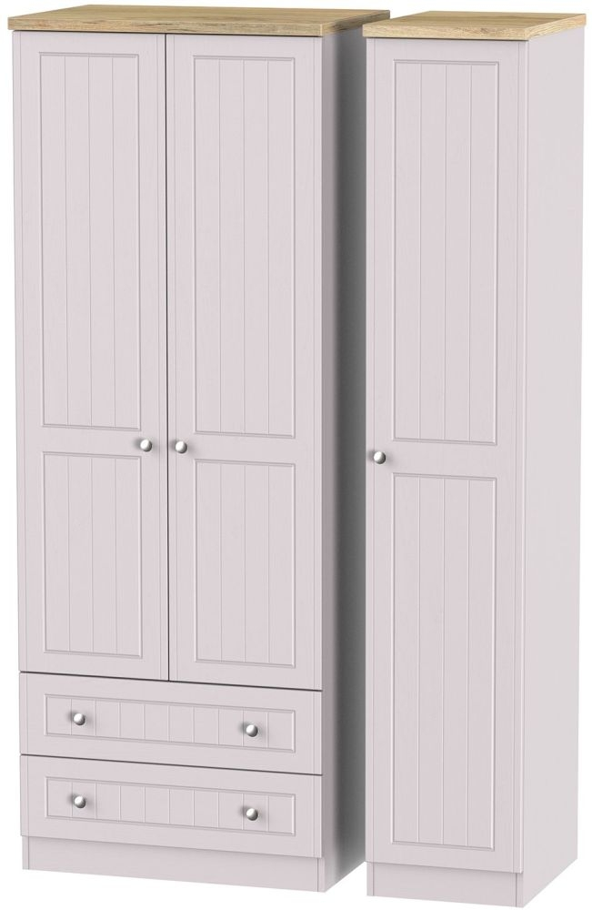 Vienna Kaschmir Ash Triple Wardrobe - Tall with 2 Drawer