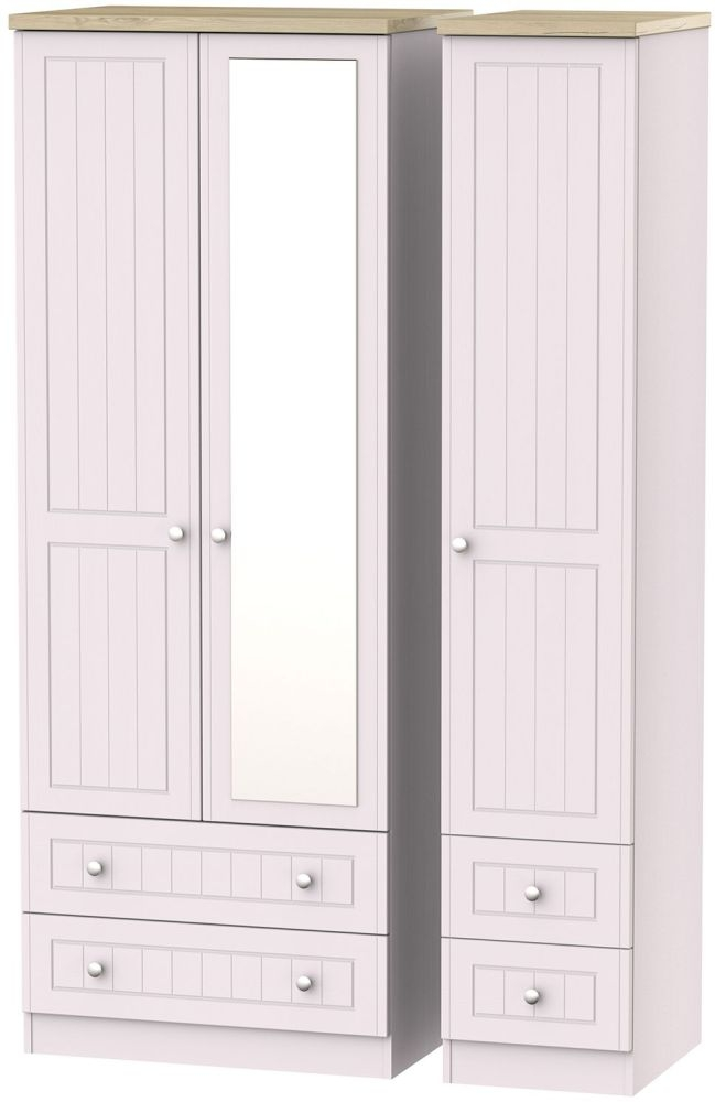 Vienna Kaschmir Ash Triple Wardrobe - Tall with Mirror and Drawer