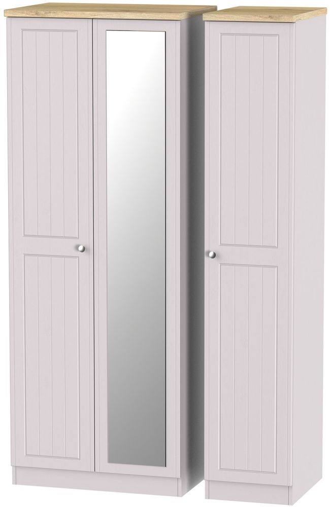 Vienna Kaschmir Ash Triple Wardrobe - Tall with Mirror