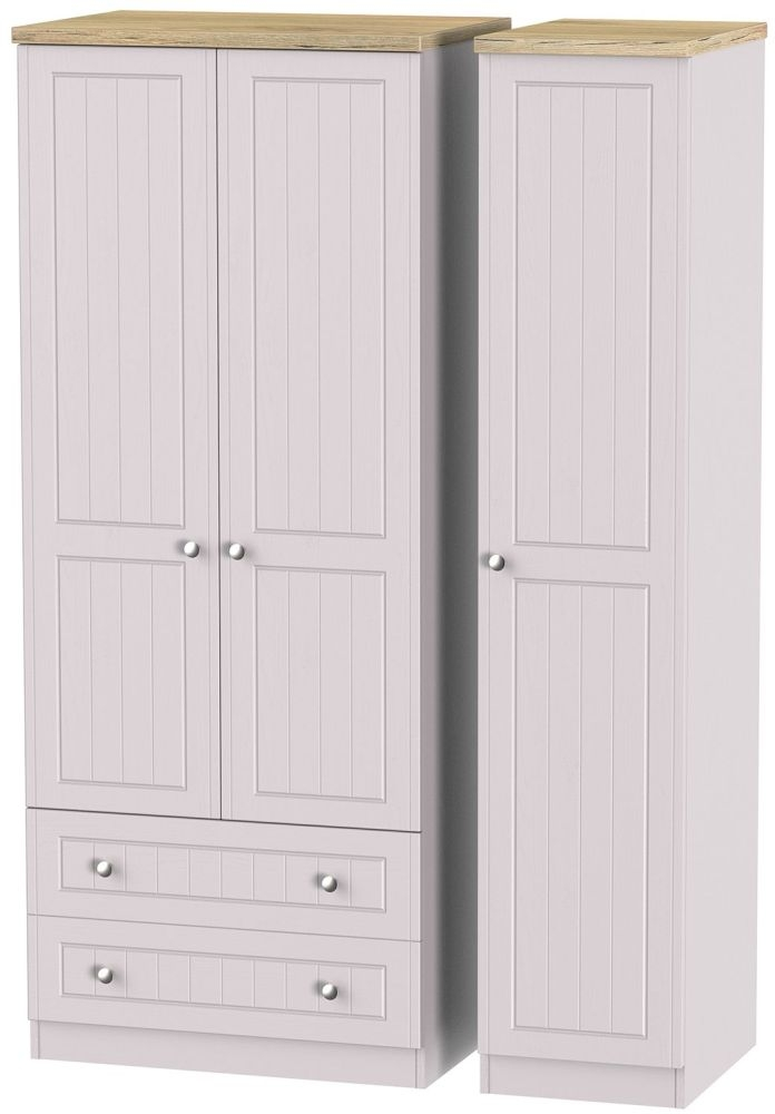 Vienna Kaschmir Ash Triple Wardrobe with 2 Drawer