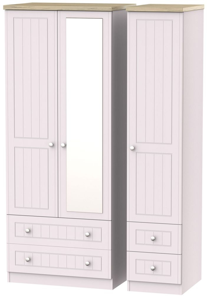 Vienna Kaschmir Ash Triple Wardrobe with Mirror and Drawer
