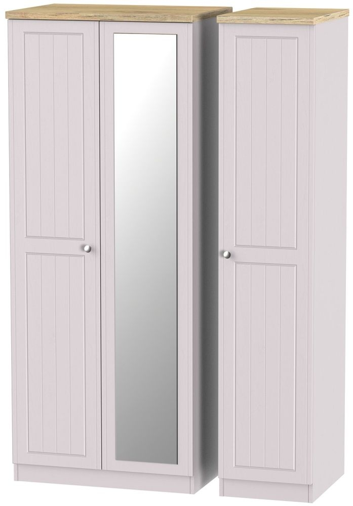 Vienna Kaschmir Ash Triple Wardrobe with Mirror