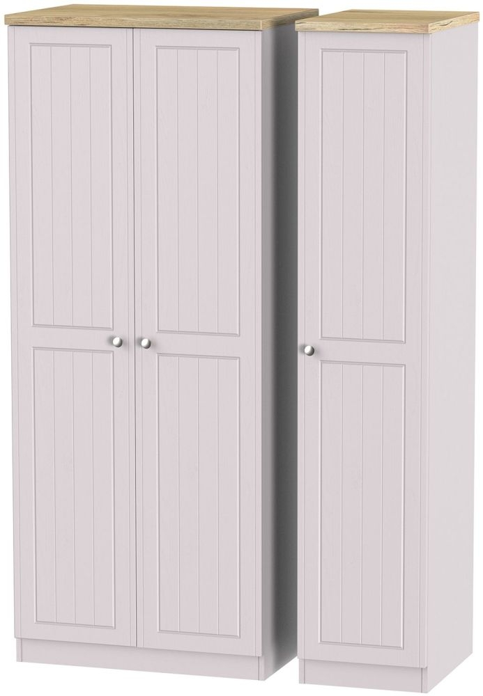 Vienna Kaschmir Ash Triple Wardrobe with Plain