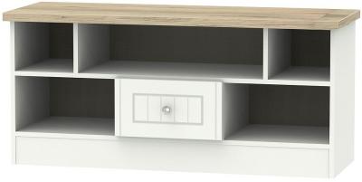 Vienna 1 Drawer Open TV Unit - Porcelain Ash and Bordeaux Oak