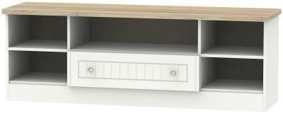 Vienna 1 Drawer Wide Open TV Unit - Porcelain Ash and Bordeaux Oak