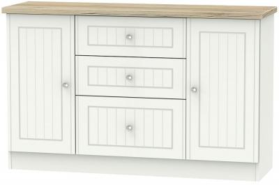 Vienna 2 Door 3 Drawer Sideboard - Porcelain Ash and Bordeaux Oak