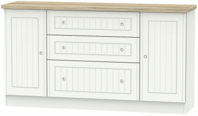 Vienna 2 Door 3 Drawer Wide Sideboard - Porcelain Ash and Bordeaux Oak