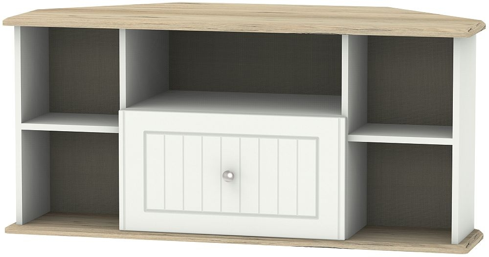 Vienna 1 Drawer Corner TV Unit - Porcelain Ash and Bordeaux Oak