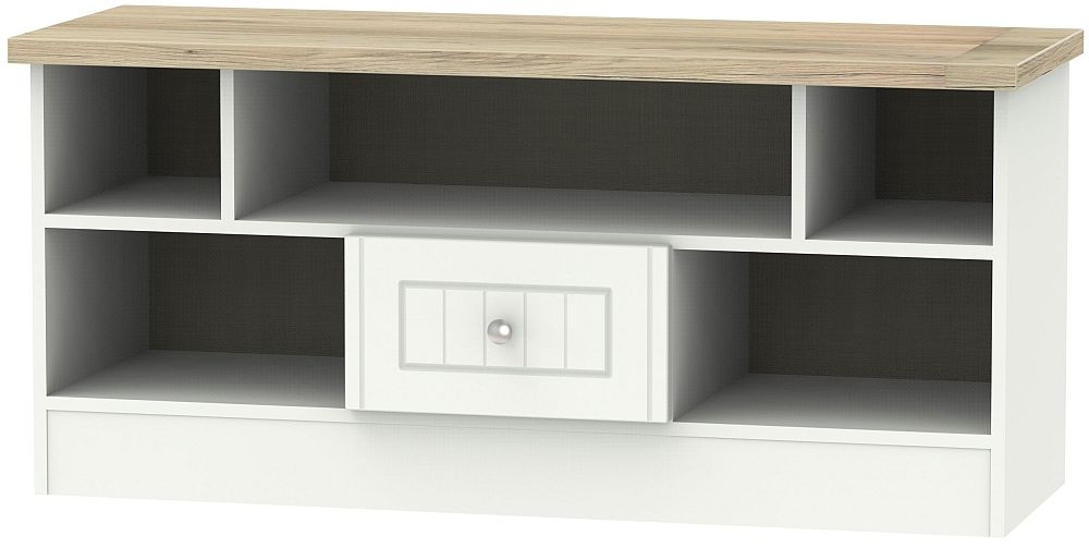 Vienna 1 Drawer Open TV Unit - Porcelain Ash and Bordeaux Oak